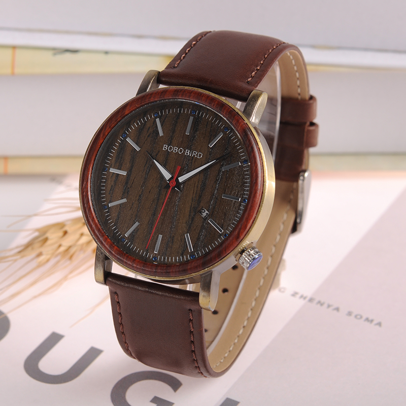 BOBO BIRD Mens Womens Bamboo Wooden Watch Dial Show date Stainless Steel Case With Leather Band erkek kol saati bobo bird k03 newest arrival nature bamboo mens watches top brand uv printing philippines flag dial watch case soft leather band