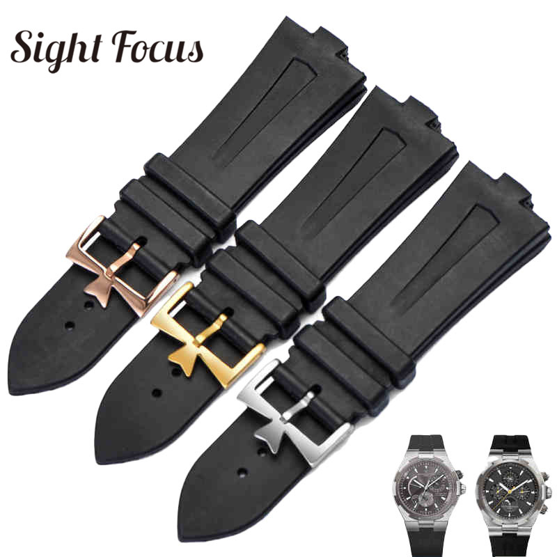 25x9mm Silicone Rubber Strap Men for Vacheron Constantin Strap VC Overseas Bracelets Black Watch Bands w Maple Pin Buckle Belts strap