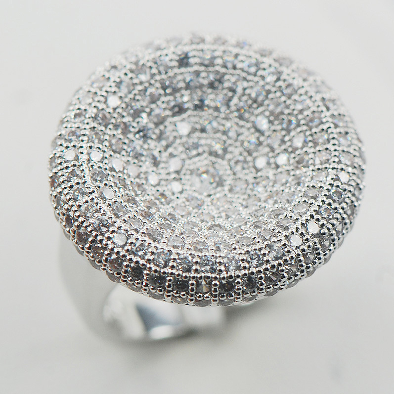 Micropave White Crystal Zircon 925 Sterling Silver Ring Size 6 7 8 9 10 11 A16