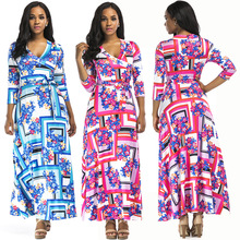 New popular European and American fashion personality V tie casual ethnic style irregular print ladies dress