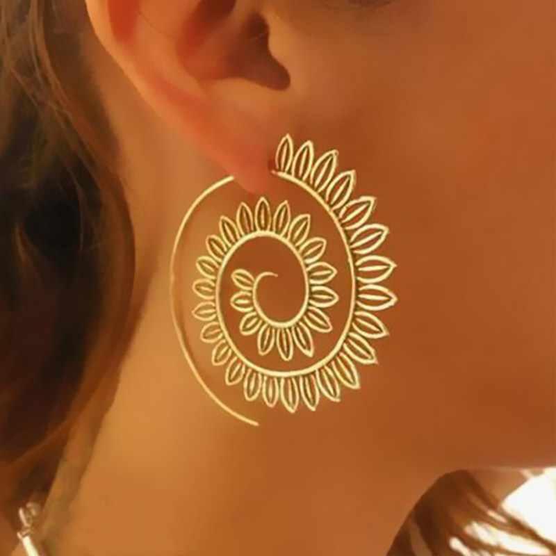 โบฮีเมียบุคลิกภาพรอบเกลียว Drop ต่างหูหัวใจรัก Whirlpool เกียร์ต่างหูสำหรับผู้หญิงเครื่องประดับชายหาด
