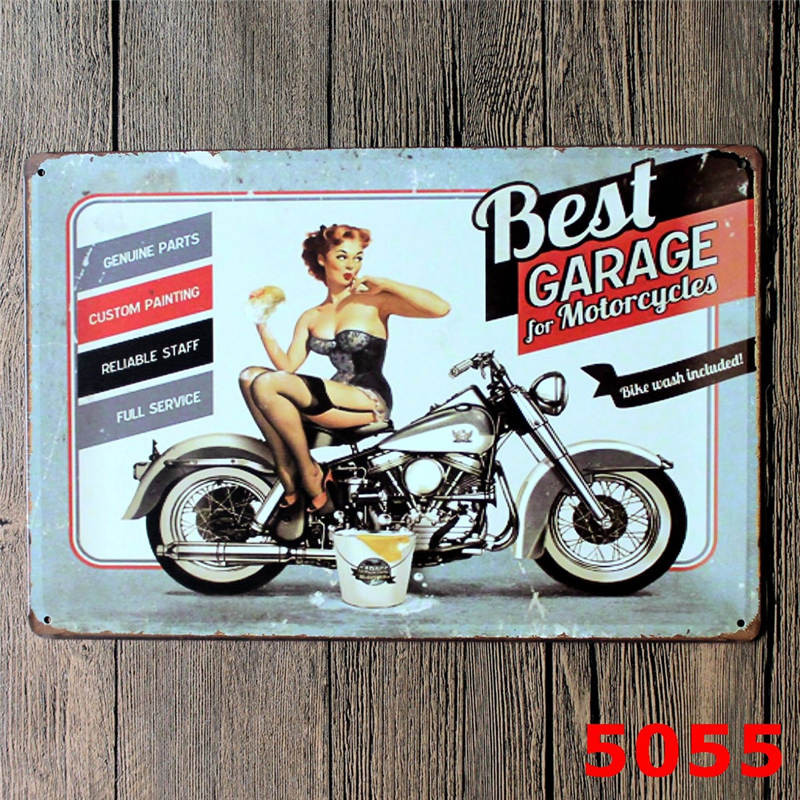 Best Garage For Motorcycle Shabby Chic Tin Sign Bar Pub Home Wall Decor Vintage Metal Art