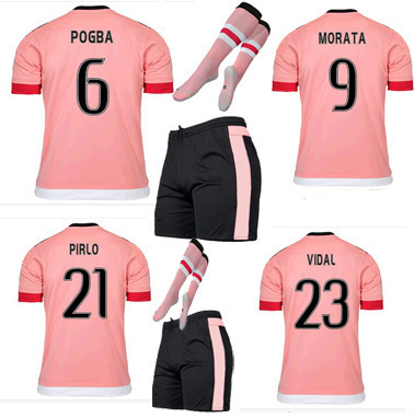 sale retailer 2537a fff8a 15 16 the full set football jersey away pink Custom DIY Pogba Morata Dybala  Football Kit Set with Socks Men Sports jersey-in Soccer Jerseys from ...