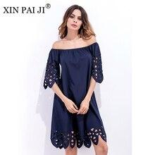 XIN PAI JI 2017 New Summer Dress Women Sexy Slash Neck Half Sleeve Dresses Casual Loose Hollow Out Shift Knee Length Dress