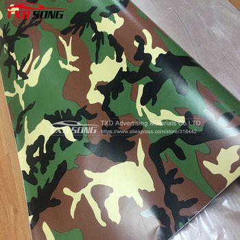 10/20/30/40/50/60X152CM/Lot High quality Yellow Tree camouflage Vinyl wrap film with Air free bubbles by free shipping image