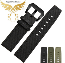 Nylon Watch Strap 22mm New Mens Black High Quality Nylon Genuine Leather Watch Band Strap Bracelets