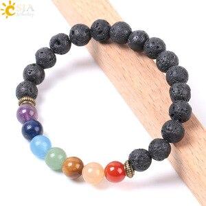 Image 3 - CSJA Natural Black Lava Beads Men Bracelets Muti color 7 Chakra Mala Stone Prayer Meditation Diffuser Energy Reiki Jewelry E955