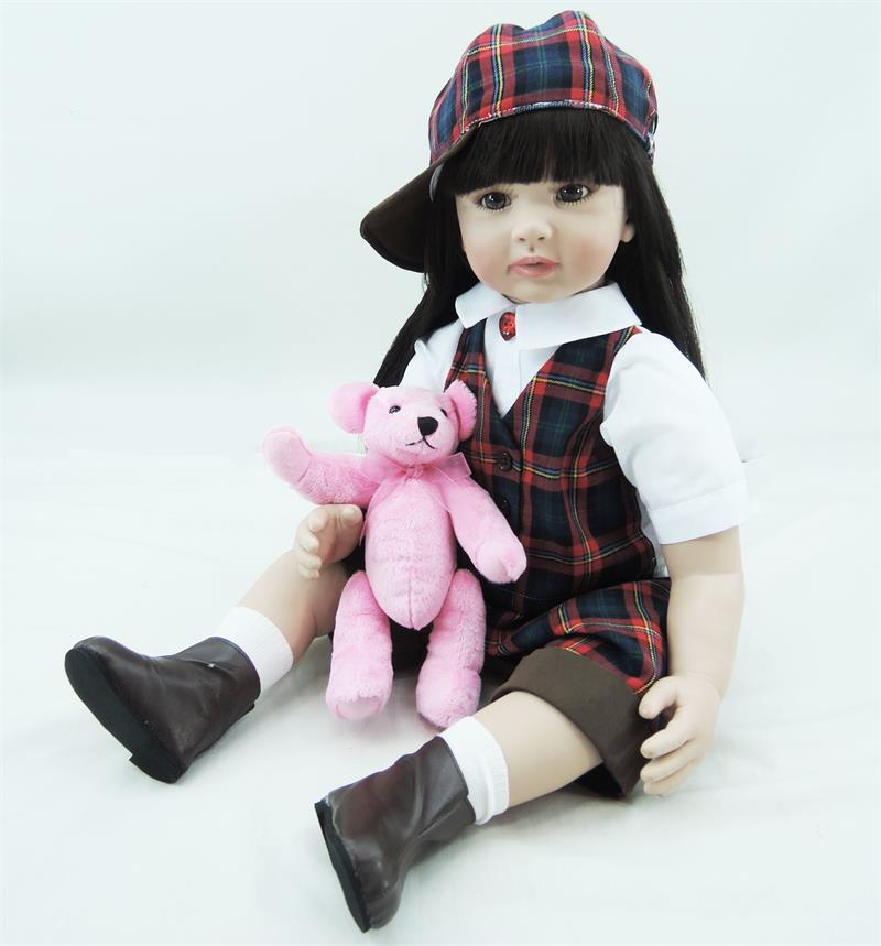 Pursue 24/60 cm Handmade Lifelike Baby Alive Soft Cotton Body Silicone Reborn Toddler Baby Girl Doll Toys with Pink Plush Toys adorable soft cloth body silicone reborn toddler princess girl baby alive doll toys with strap denim skirts pink headband dolls