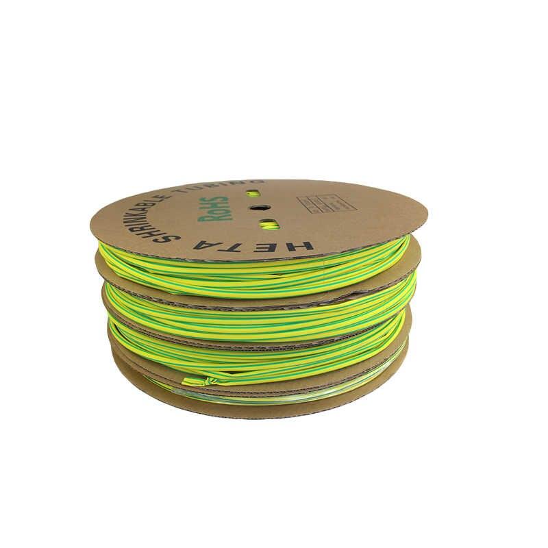 8 MM Tubo Do Psiquiatra Do Calor tubulação shrinkable Dupla cor verde-Amarelo Amarelo e Verde de Alta qualidade dupla cor cabo mangas