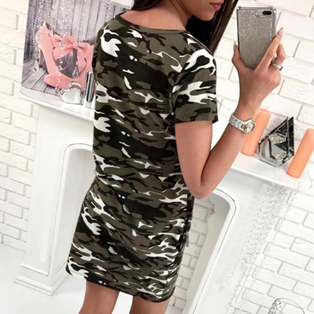 Robes dété femmes Camouflage imprimé à manches courtes robe Sexy casual T-Shirt Mini robe vêtements WS013C