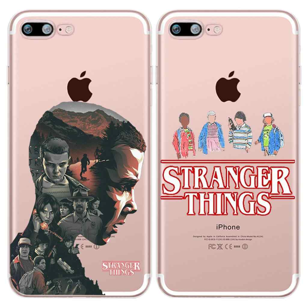 Case TV Stranger Things Transparent Originality Luxury Durable TPU Back for iPhone 4 4S 5 5S 5C SE 6 6S 7 8 Plus X Phone Cover