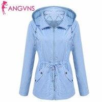 ANGVNS Women Detachable Jacket Autumn Waterproof Hooded Long Sleeve Casual Solid Drawstring Lightweight Jacket