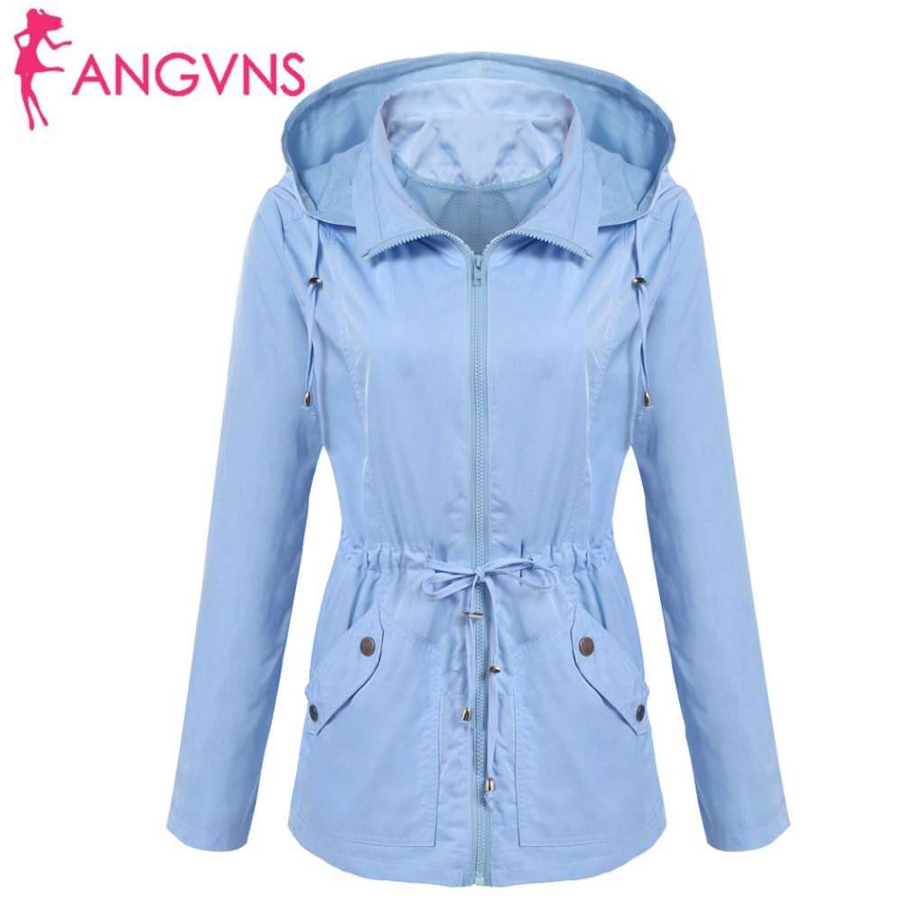 ANGVNS Women Basic Jackets Autumn Waterproof Detachable Hooded Long Sleeve Casual Drawstring Lightweight Jacket Outwear Coat