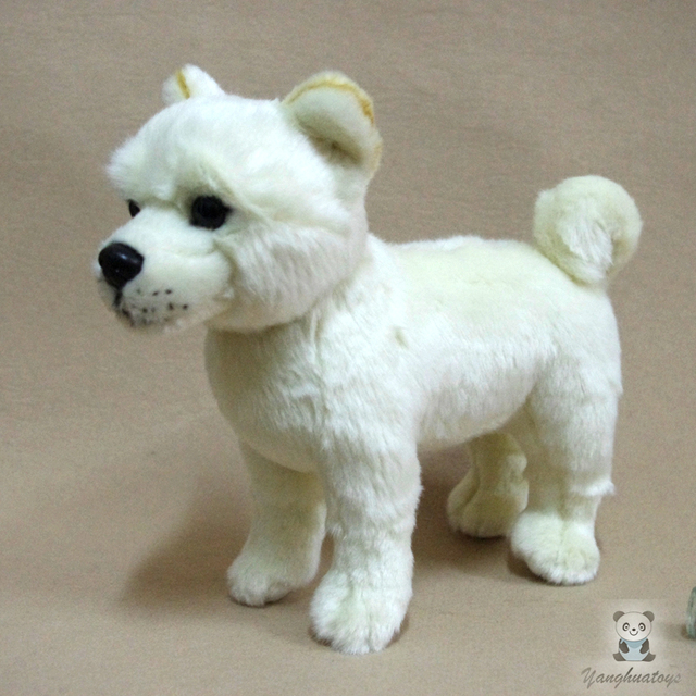 Cute Children Toy Real Life Plush White Akita Dog Doll Birthday Gifts For Boys And Girls good quality