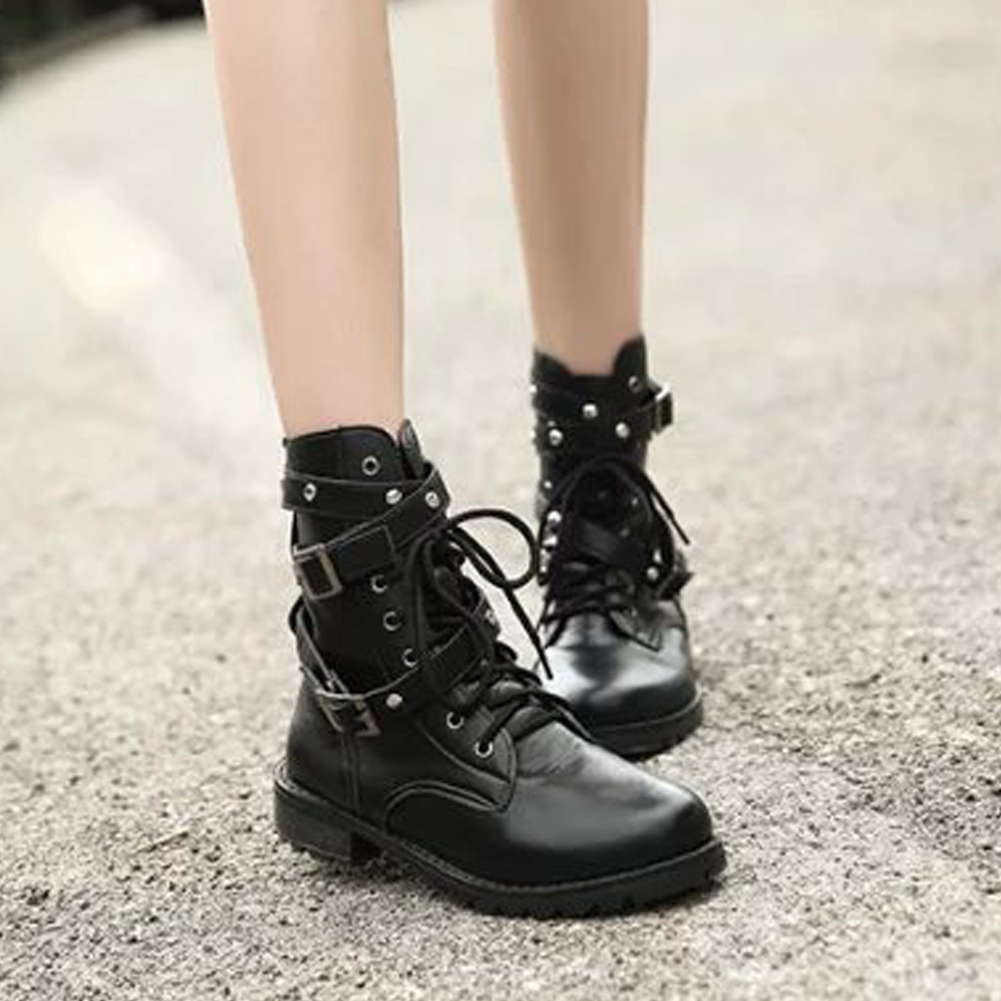 Women Short Boots Autumn Punk Style PU Leather Lace Up Belts Round Toe Boots Ladies Martins Shoes Short BootsWomen Short Boots Autumn Punk Style PU Leather Lace Up Belts Round Toe Boots Ladies Martins Shoes Short Boots