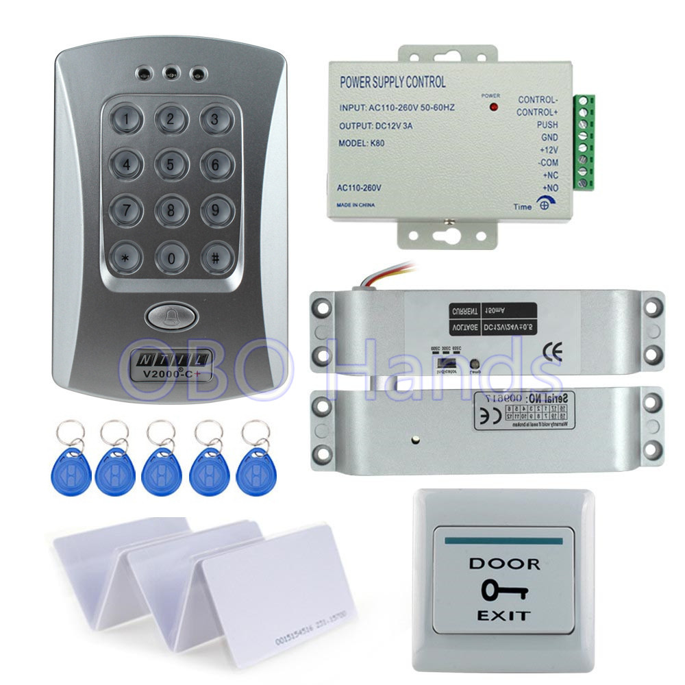 Hot sale completed door access control system kit V2000-C+ electric drop bolt lock+power supply+exit button+10pcs ID key cards hot sale completed door access control system kit v2000 c and electric control lock power supply exit button 10pcs id key cards