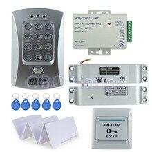 Sıcak satış tamamlanan kapı erişim kontrol sistemi seti V2000 C + elektrikli yuvarlak sürgü kilit + güç kaynağı + çıkış düğmesi + 10 adet KIMLIK anahtar kartları