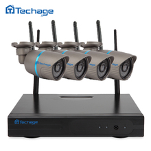 Techage 4CH 720P HD Outdoor IR Night Vision Video Surveillance Security 4pcs IP Camera WIFI CCTV System Wireless NVR Kit 1TB HDD
