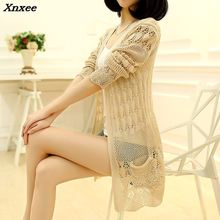 Xnxee 2018 new spring coat dress in Korean long loose knit cardigan sweater the of and Autumn