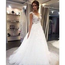 Совок Свадебные платья Аппликация из белого кружева линия без рукавов Иллюзия развертки поезд свадебное платье с пуговицами сзади