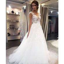 Escopo vestidos de casamento renda branca aplique, a linha sem mangas ilusão trem de noiva vestido com botões traseiros