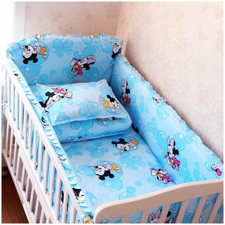 Promotion! 6 pièces ensemble de literie de lit de bande dessinée pour bébé cadeau/ensemble d'allaitement (pare-chocs + feuille + taie d'oreiller)