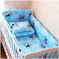 Promotion! 6PCS Cartoon Cot Bedding Set for baby gift/nursing set(bumpers+sheet+pillow cover)