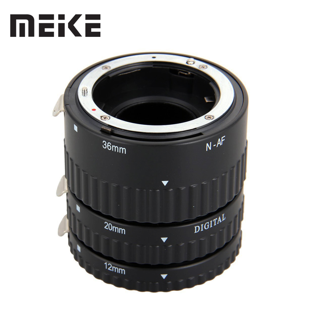 Meike Auto Focus Metal AF Macro Extension Tube Set for Nikon D7100 D7000 D5100 D5300 D3100 D800 D750 D600 D90 D80 DSLR Camera huanor hn 668c auto macro extension tube set for canon dslr black