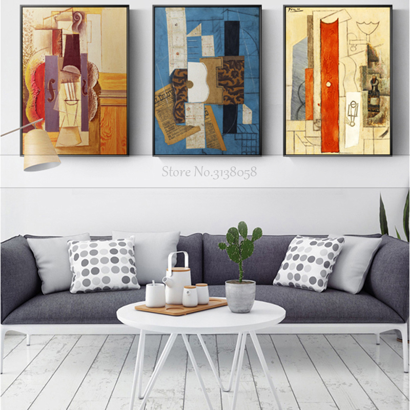 World Famous Painting Picasso Guitar Abstract Canvas Painting Art Wall Pictures For Living Room Fashion 100