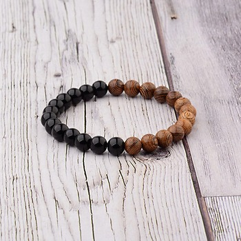Elastic Natural Wood Beads Bracelet Bracelets Jewelry New Arrivals Women Jewelry Metal Color: 005-A2
