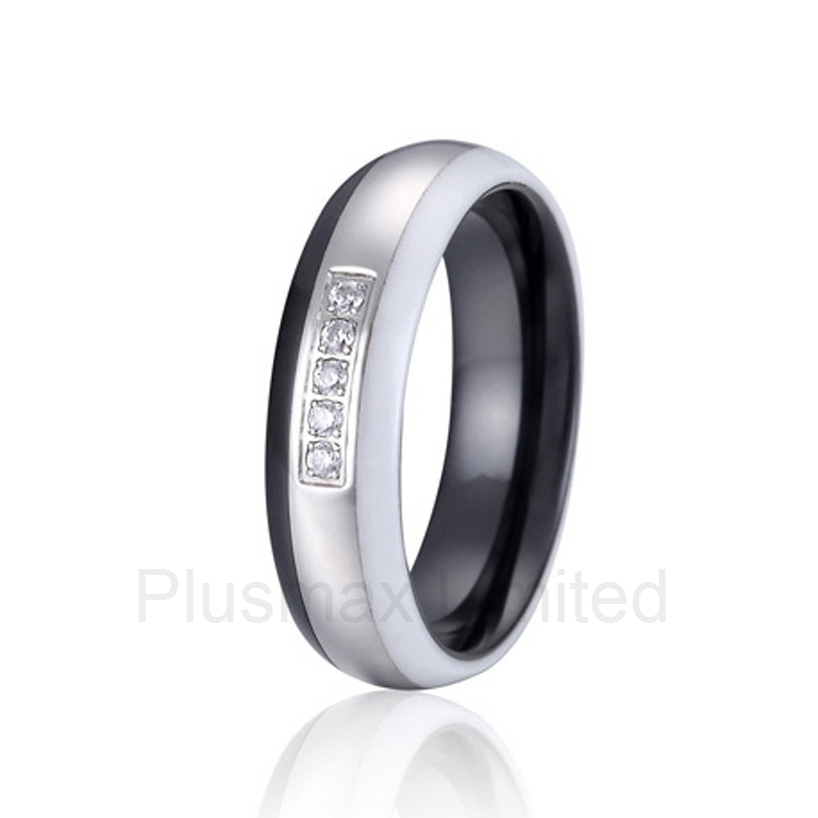 Custom titanium jewelry married anninversary gift white and black combination ceramic rings for weddingCustom titanium jewelry married anninversary gift white and black combination ceramic rings for wedding