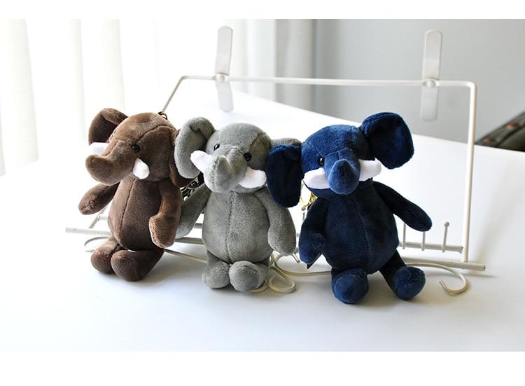 Cute Elephant Doll Keychain Keyring Plush Women Children Bag Charm Accessory Pendant Mini Animal Stuffed Toy Car Keychains Gift