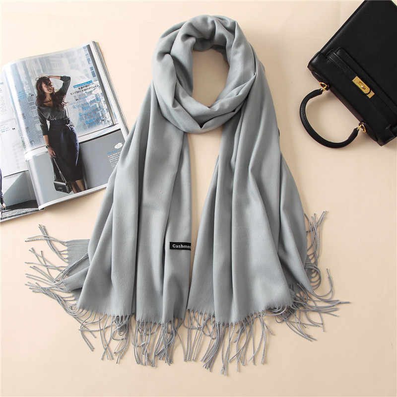 2019 New Luxury Brand Women Cashmere Solid Scarf Summer Thin Pashmina Shawls and Wraps Female Foulard Hijab Stoles Head Scarves
