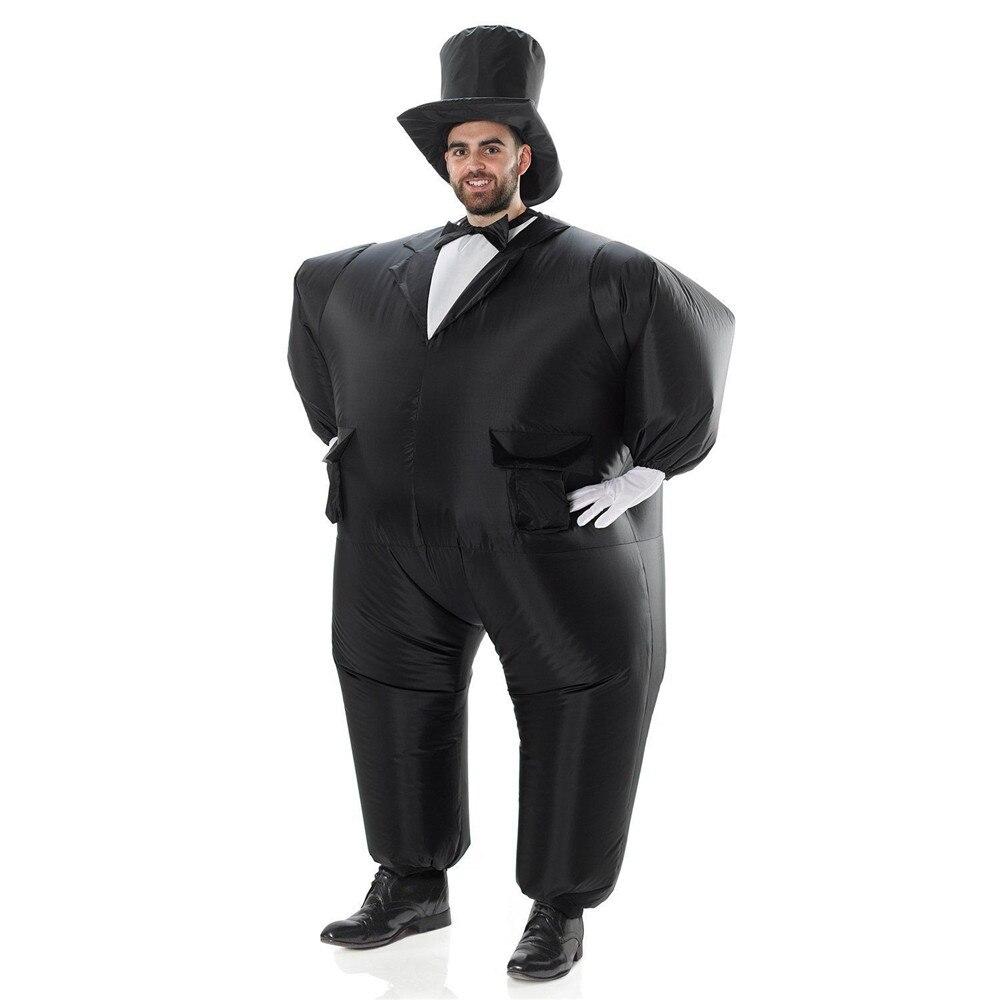 ceaf58fe2aab7 Inflable de esmoquin negro traje de caballero gordo traje de la Chub  vestido elegante juguete divertido Carnaval de Halloween Disfraces para  adultos en ...