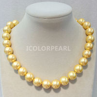 WEICOLOR Wholesale Price For 14mm Round Special Gold Mother Pearl Necklace, Very Nice Jewelry For Party!