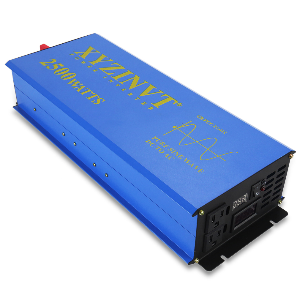 Car Power Inverter 2500W 24V to 220V Pure Sine Wave Solar Inverter Converter Power Bank 12V/36V/48V DC to 110V/120V/230V/240V AC solar power inverter 1000w 12v 220v pure sine wave inverter generator car battery pack converter 12v 24v dc to 110v 120v 240v ac