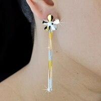 S925 sterling silver earrings plated gold long Korean fashion earrings hypoallergenic sterling silver wild women Tassel earrings