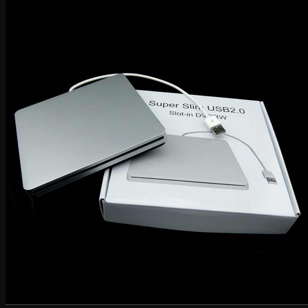 Tipe Laptop Hisap Super Slim USB 2.0 Slot Eksternal DVD Burner Drive Eksternal Box Enclosure Case Promosi