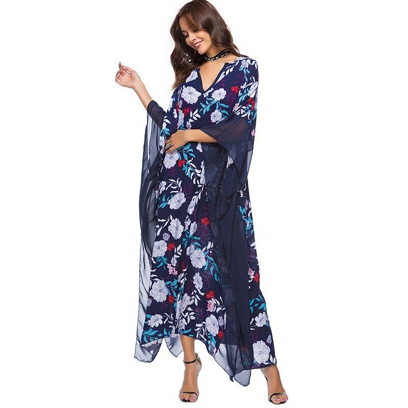 Hippie Boho Dress Beach Floral Maxi Dress Women Mesh 2018 Robe Femme Loose Dresses Large Sizes Summer Spring Vestidos Patchwork