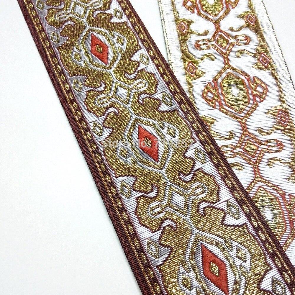 1m 27mm orange jacquard embroidered ribbon lace applique trimming decor