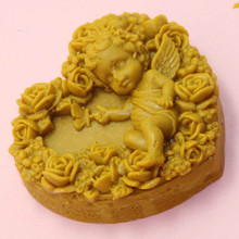 heart shaped silicone mold angel rose carving soap making mould DIY Craft Bathing Soap