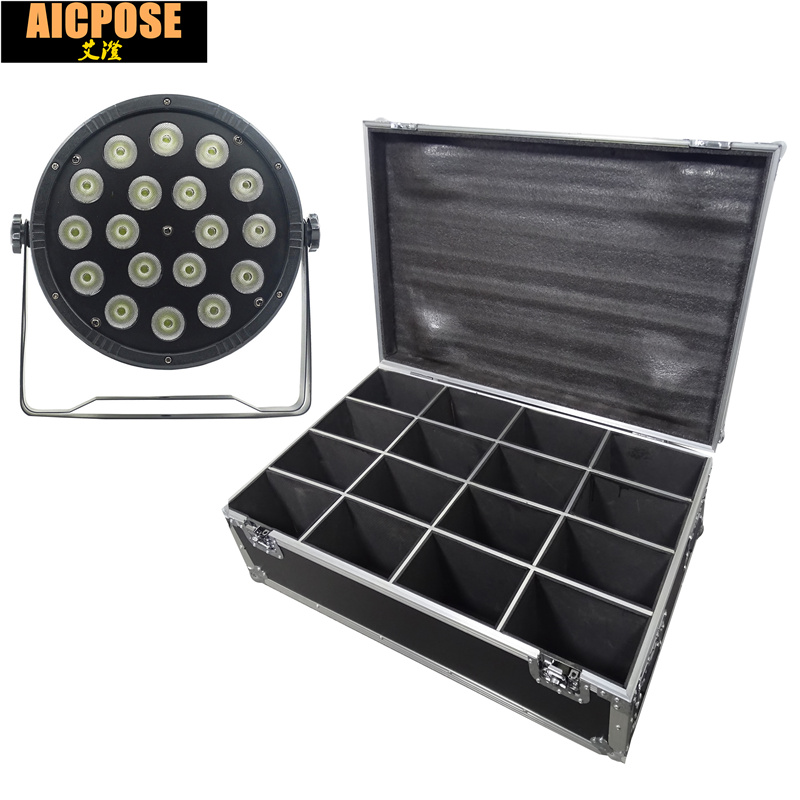 16units 18x12W led Par lights RGBW 4in1 flat par led with Flight case dmx512 disco lights professional stage dj equipment 2pcs lot rgbw 4in1 18x12w led par full color disco lights dmx512 par led professional dj equipment dye with power in power out