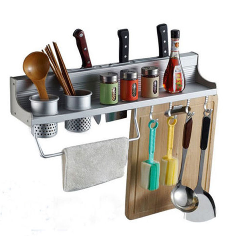 New Aluminum Kitchen Accessories Rack Set Wall Mounted Storage Holders Racks With Double Cup 8 Hooks Bathroom Shelves