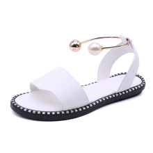 Low Heel Sandals, Female Summer 2017, New Style Pearl Feet, Ring Rome Shoes, Word Buckle, Student Flat Sandals
