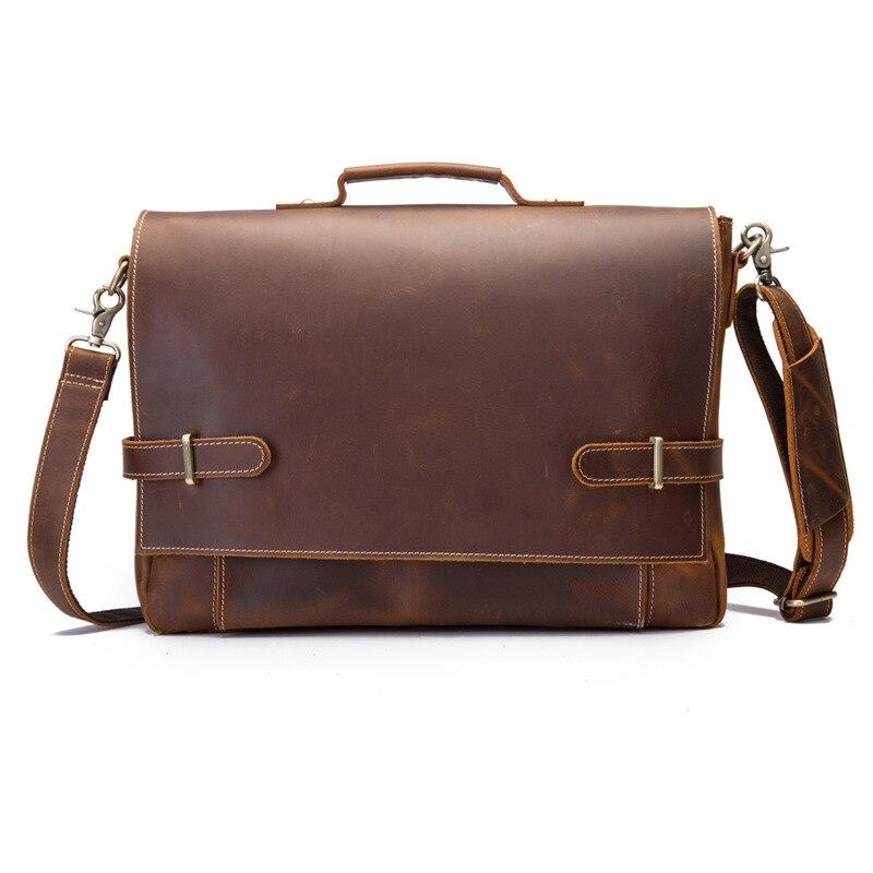 Nesitu Vintage Brown Thick Genuine Crazy Horse Leather Portfolio 14'' Laptop Offiice Men Briefcase Shoulder Messenger Bags M9090
