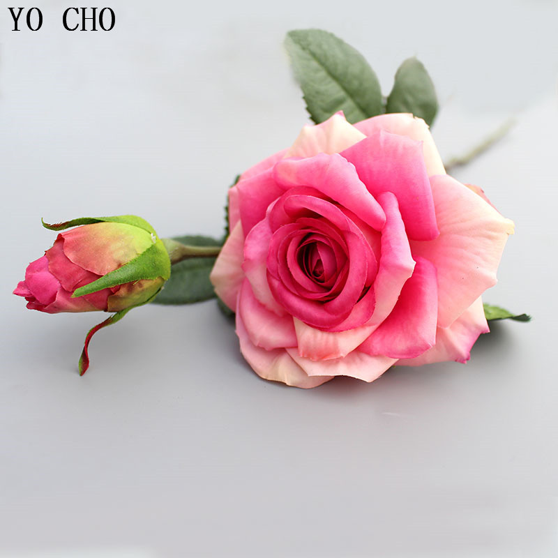 YO CHO Peony Leaves Silk Flower Wall Diy Bridal Wedding Bouquet Roses Wreath Christmas Decorations Rose Artificial Flowers Cheap
