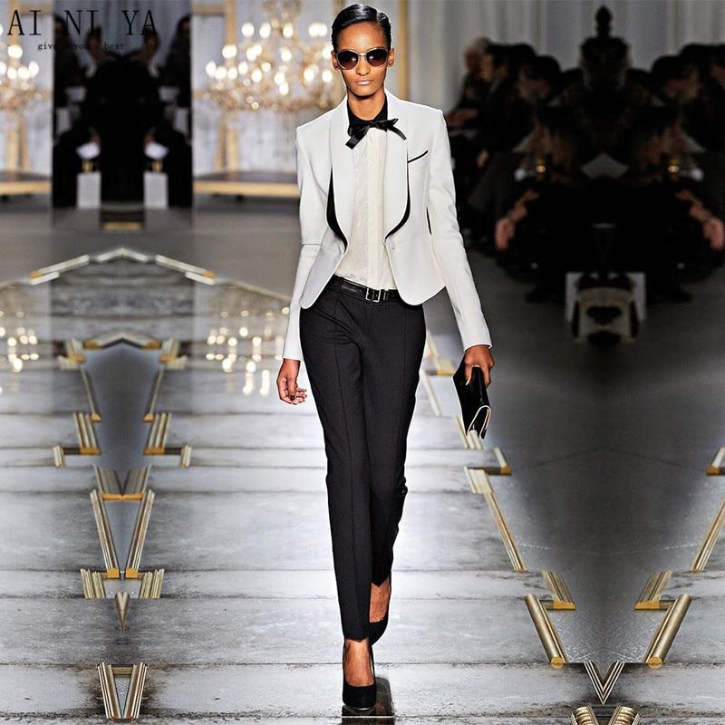 Spring Womens Business Suits Black White Office Uniform Designs Women Tuxedo Female Trouser Suits Formal Wear Work 2 Piece Suits