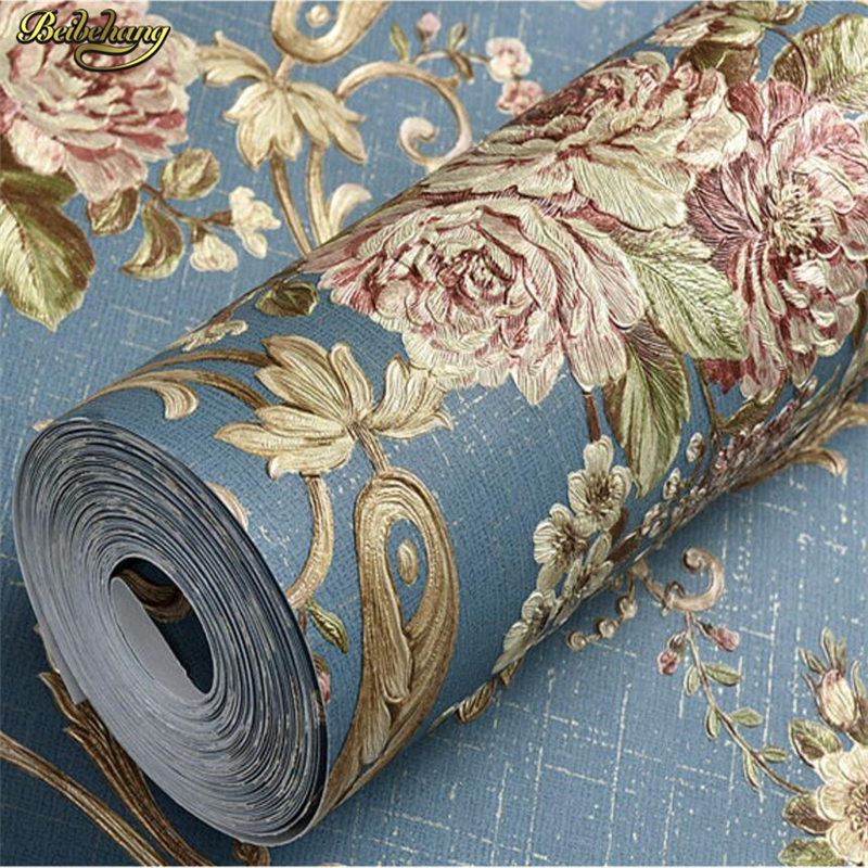 beibehang European American Pastoral Wallpapers AB 3D Stereo Stencil Nonwoven Wall paper Bedroom Living Room TV papel de parede beibehang warm european bedroom wallpapers 4d stereo nonwovens wallpapers living room tv background wallpapers