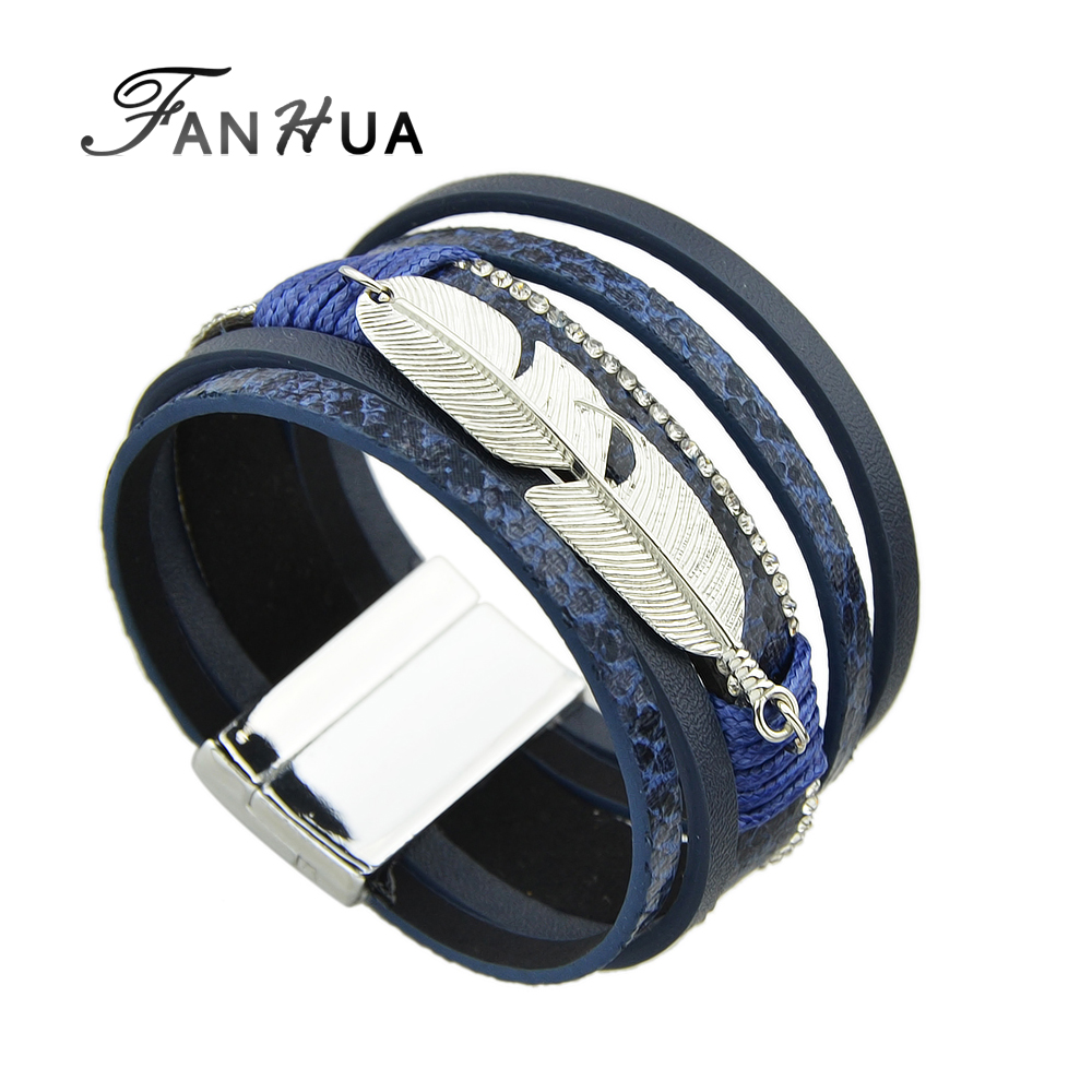 Fanhua Multilayer Bracelet Blue Black Pu Leather Wrap Bracelets For Men And  Women Wristband With Silver
