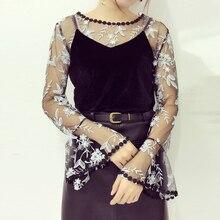 Hot Korean Style See-through T-Shirt+Velvet Camis Sets Women Flare Sleeve Flowers Embroidery Velvet Retro Women Tops Long Sleeve